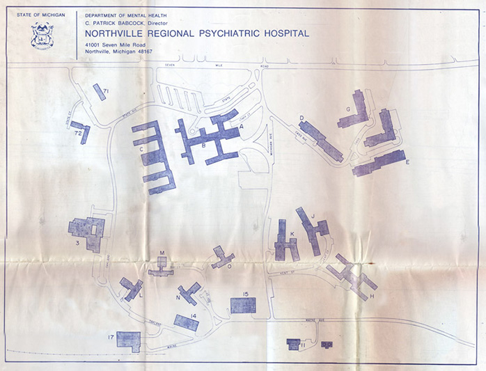 map of northville hospital in the 1980 s