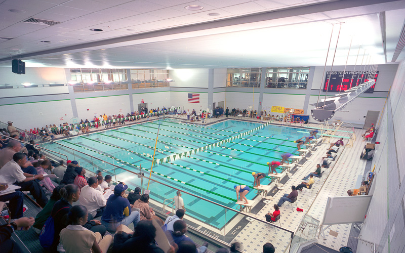 How many detroit high schools have swimming pools for Pool show michigan