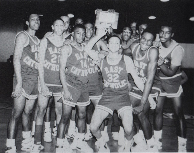 East Catholic, as the school was later known had very successful sports  programs. Here, the 1988 basketball team celebrates winning the district ...