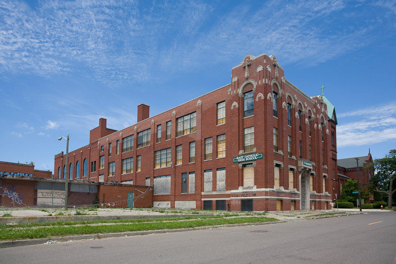 While the school was secured well for several years, it eventually fell  victim to the usual predators: scrappers and vandals.